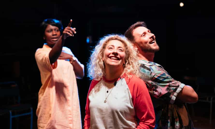 Naana Agyei-Ampadu, Jodie Jacobs and Peter Caulfield in Last Easter at the Orange Tree theatre, London.