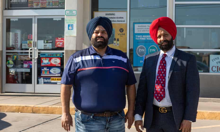 Sukhwinder Singh Sodhi, son of Balbir Singh Sodhi, left, and his uncle Rana Singh Sodhi stand for a portrait at Mesa Star, the store where Balbir Singh Sodhi was killed.