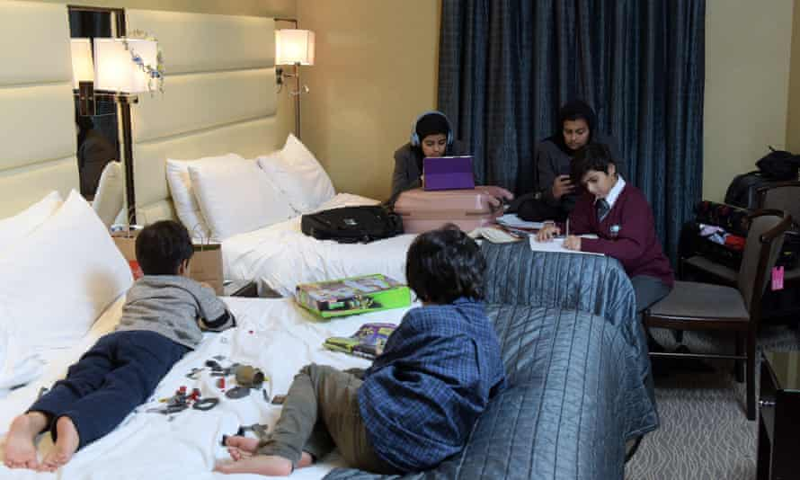 Ibtisam's children play and do homework on their two beds.