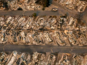 A mobile home park destroyed by fire is seen in Phoenix, Oregon.