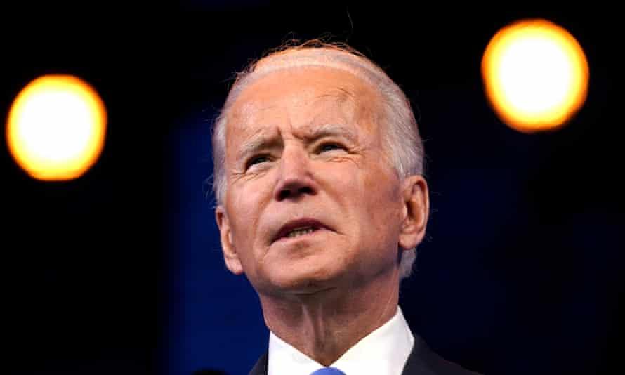 Joe Biden in Wilmington, Delaware, on 14 December.