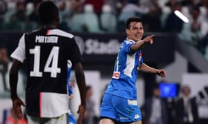 Napoli's Hirving Lozano celebrates after scoring their second goal.