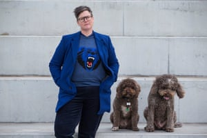 Hannah Gadsby with her dogs Jasper and Douglas. The Australian comedian will premiere her new show, Douglas, in Melbourne in March.