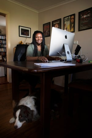 Gamer Shauntelle Benjamin (and Puck) at her home in Sydney's west.