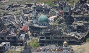 A mosque lies in ruins in Marawi City, on the southern island of Mindanao.