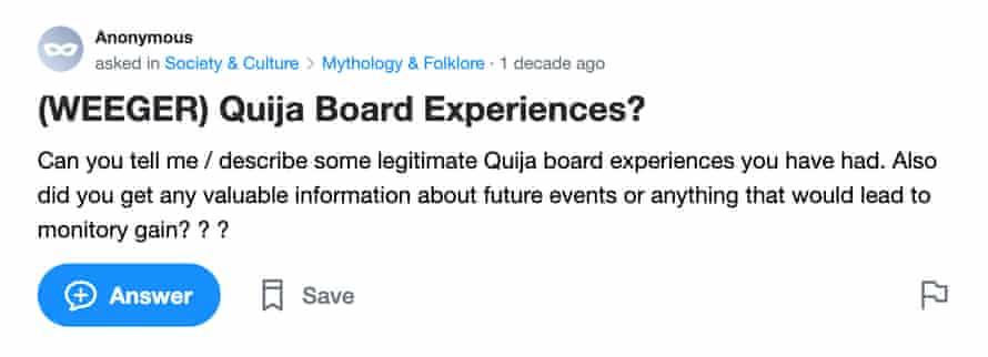 یک اسکرینگراب از یاهو!  صفحه س askingالات پاسخ ها: هیئت مدیره Quija تجربه هایی دارید؟
