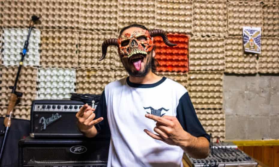 Diogo Azevedo, 23, singer of thrash-metallers Jarda, in his recording studio at Stop in Porto.