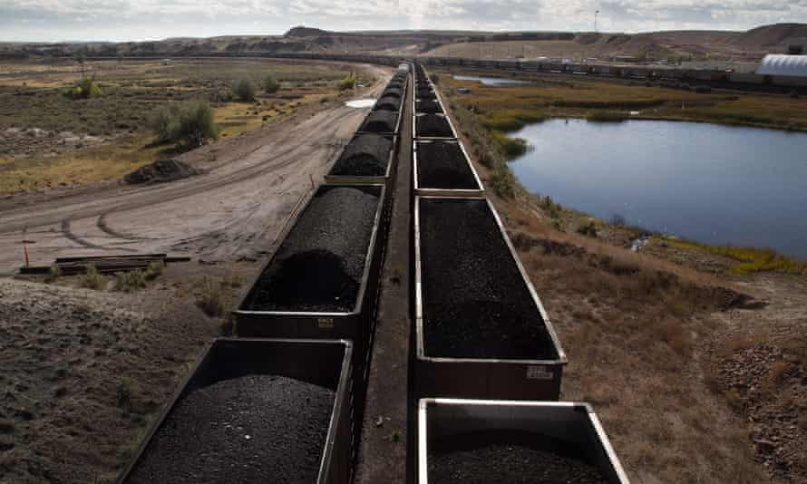 Trains filled with coal leave Peabody's North Antelope Rochelle Mine in Wyoming
