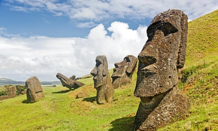 Moais in Rapa Nui national park.