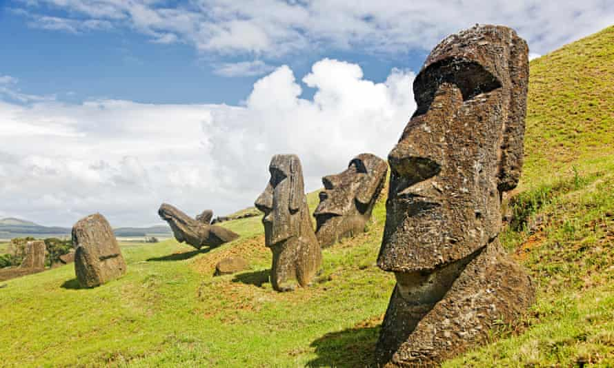 Moais in Rapa Nui national park on the slopes of Rano Raruku volcano on Easter Island.
