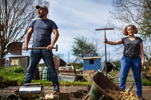 """Chris Asensio and helper Fran Nelson. Chris has had his Midmar allotment for 3 years. """"I love it, I had to wait 11 years for it, eventually got it and it was just a plot of weeds, so it's been a lot of work but fortunately I've got nice friends, that come and help me a lot."""""""