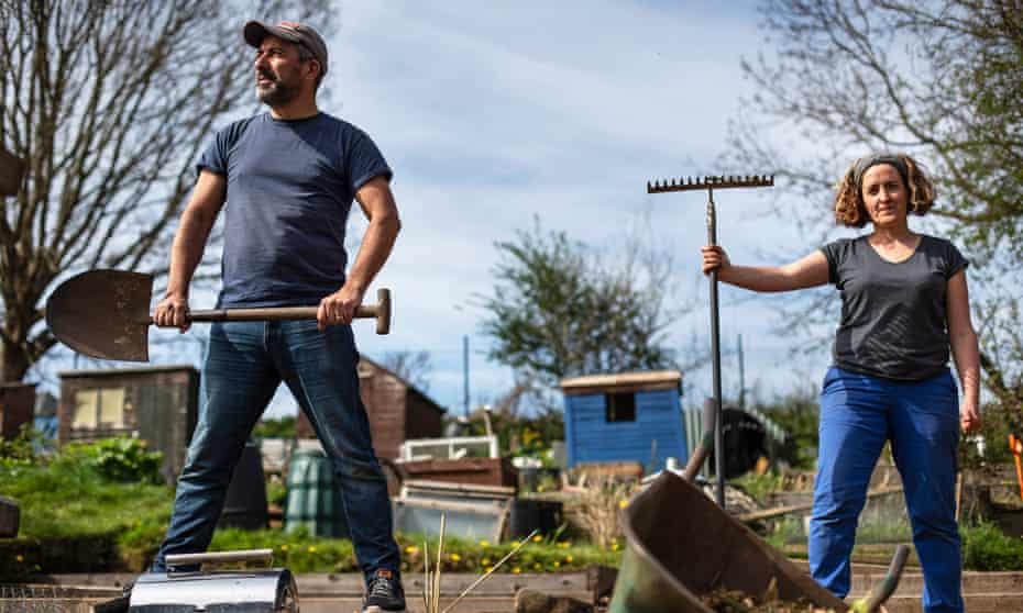 Fighting fit: Edinburgh teacher Fran Nelson has helped Chris Asensio on his allotment during the pandemic.