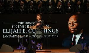 Nancy Pelosi speaks during funeral services for Elijah Cummings in Baltimore, Maryland, on 25 October.