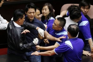 Punch-throwing and rowdy protests are not uncommon in the Taiwanese parliament