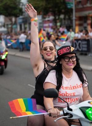 A woman in a 'feminist sober killjoy' T-shirt