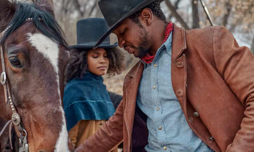 Zazie Beetz and Jonathan Majors in The Harder They Fall.