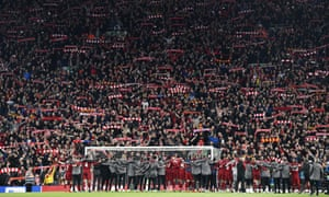 Liverpool players, staff and fans celebrate after their victory over Barcelona in May 2019.