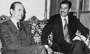 Chirac meeting Saddam Hussein in 1976