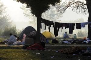 Edirne, Turkey: Makeshift camps near the Sarayiçi arena