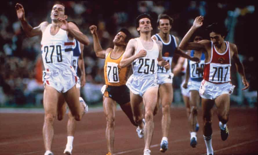 Steve Ovett, left, takes gold in the 800m ahead of Sebastian Coe in the 1980 Moscow Games.