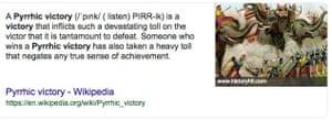 Wiki definition of pyrrhic victory