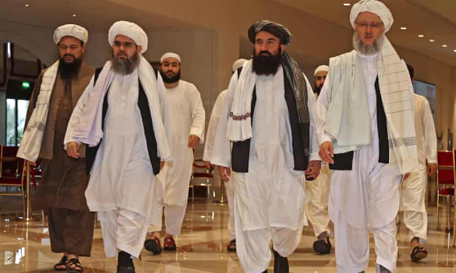 The Taliban delegation in talks with the Afghan government in Doha on 12 August