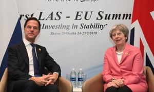 Theresa May meeting the Dutch PM Mark Rutte at the EU-Arab summit in Sharm El Sheikh this morning.