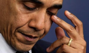 Obama teared up when he spoke of the shooting at Sandy Hook Elementary School in Newtown, Connecticut.