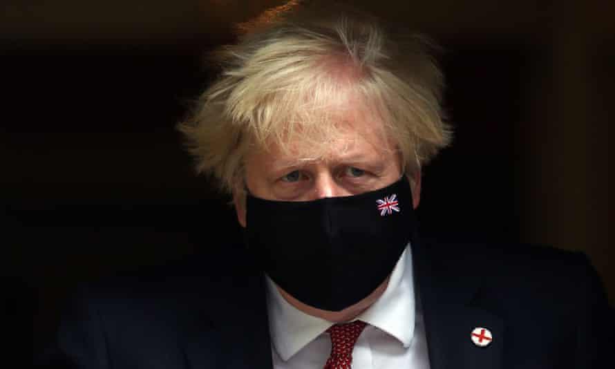 Boris Johnson leaving Downing Street.