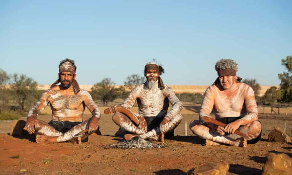 A group of Wangan and Jagalingou Cultural Custodians yesterday at the edge of Adani's Carmichael mine