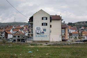 Giant portrait of General Ratko Mladić painted on a building. Considered as a hero by some, Mladić is nowbeing tried for war crimes at The International Criminal Tribunal for the former Yugoslavia in The Hague, Netherlands. Gacko, November 2013