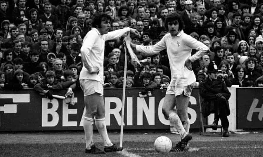 Eddie Gray chats to Peter Lorimer (right) during Leeds' 5-1 victory against Manchester United in February 1972 in which they remorselessly toyed with their opponents.