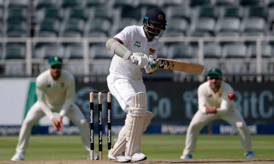 Sri Lanka's Dimuth Karunaratne ended day two nine runs short of a century against South Africa at the Wanderers.