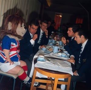 The World Cup mascot World Cup Willie has afternoon tea with the West Germany squad at Ashbourne, Derbyshire.
