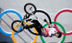 Great Britain's Charlotte Worthington on her way to winning a gold medal in the women's BMX freestyle at the Ariake Urban Sports Park.