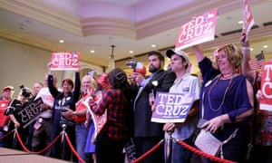 Ted Cruz supporters take position in front of the podium as they enter the election night headquarters in the 2018 midterm general election at the Hilton Post Oak in Houston, Texas.