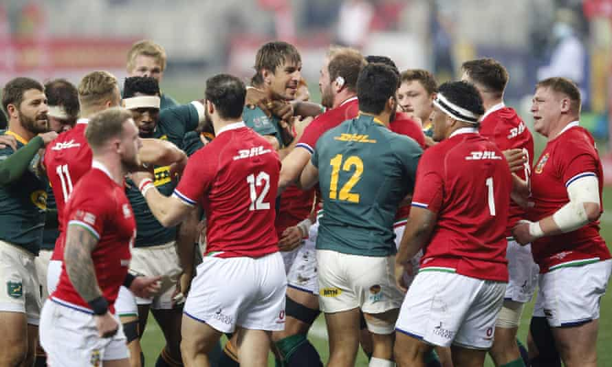 Eben Etzebeth and Alun Wyn Jones face off during South Africa's victory against the Lions in the second Test.