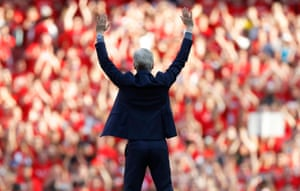 Arsène Wenger waves goodbye to the Arsenal fans after the 5-0 win against Burnley in his last home game.