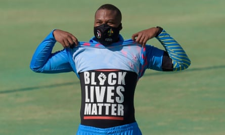 Lungi Ngidi shows his solidarity with the Black Lives Matter movement before the 3TC Solidarity Cup match in July