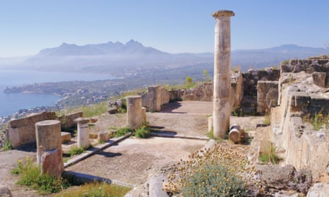 Ruins of Solunto (foreground), coastline east of Palermo (background)