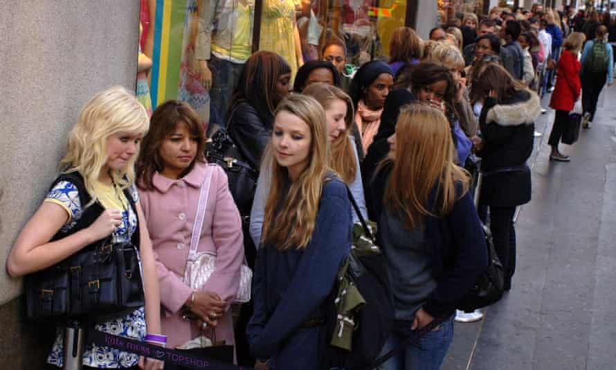 Customers queue outside the oxford Street store following the launch of Kate Moss's collection.