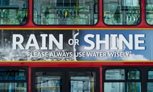 A water conservation advert on the side of a London bus.
