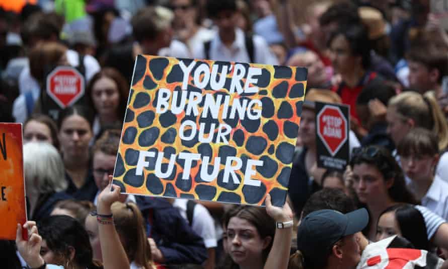 Students on strike in Sydney.