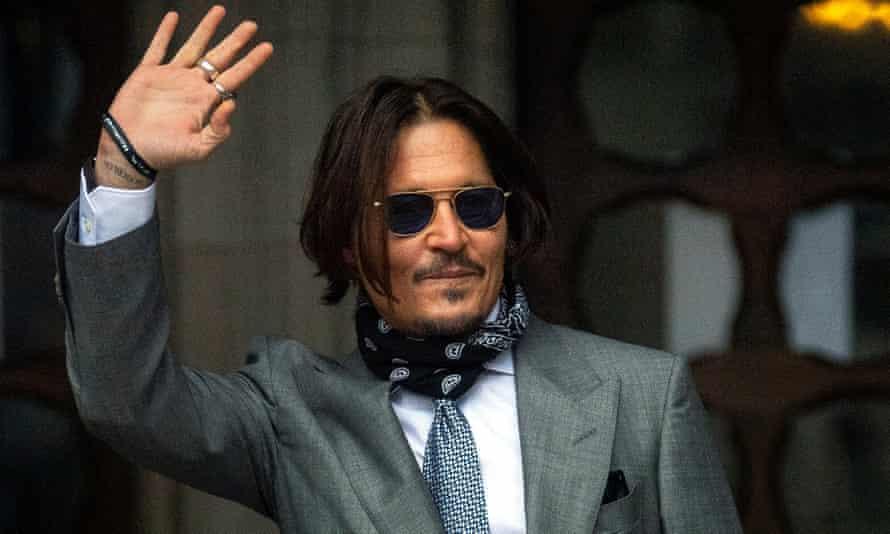 Johnny Depp arrives at the high court on Thursday