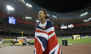 Jessica Ennis-Hill celebrates after winning the heptathlon