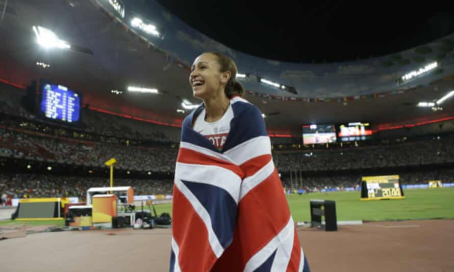 Jessica Ennis-Hill celebrates after winning the heptathlon