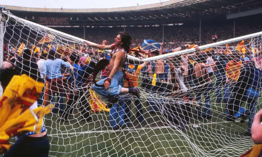 Scotland fans invade the Wembley pitch after the 1977 victory.