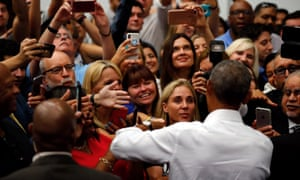 Obama greets supporters in Anaheim.