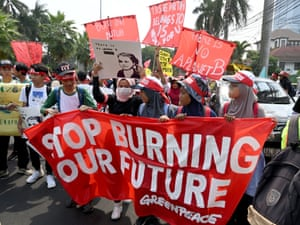 Stop burning our future: Indonesian activists carry placards and banners in Jakarta.