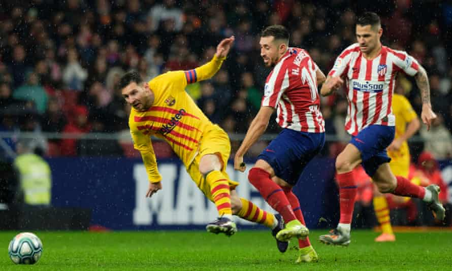 Barcelona (left) and Atlético Madrid have asked their players to take temporary pay cuts because of coronavirus.